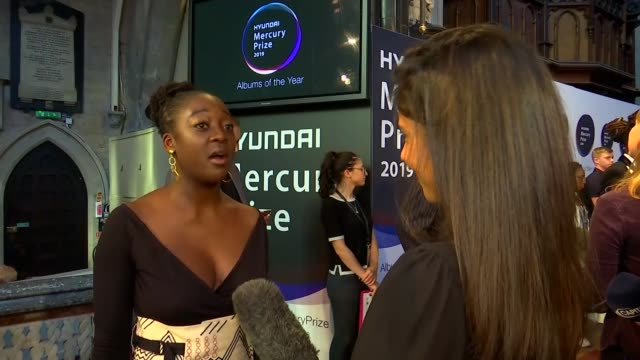 mercury prize 2019 red carpet interviews england london hammersmith int cassie kinoshi interview sot lil' simz interview sot anna calvi interview sot - calvi stock videos and b-roll footage