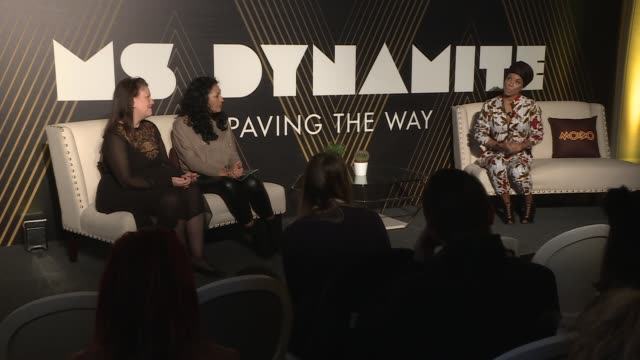 Miss Dynamite given 'Paving the Way' award by MOBO Ms Dynamite speech SOT / EXT GVs of paving stone being unveiled and Ms Dynamite posing and making...
