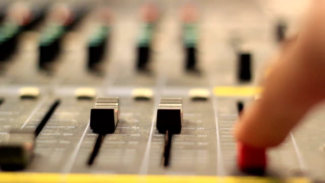 Music Mixer desk table in recording studio LOOP