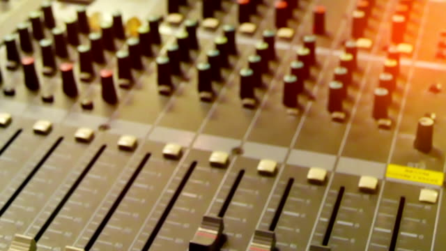 music mixer desk table in recording studio loop - audio equipment stock videos & royalty-free footage