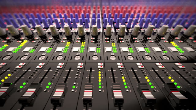 stockvideo's en b-roll-footage met music mixer desk table in recording studio.loopable cg - lawaai