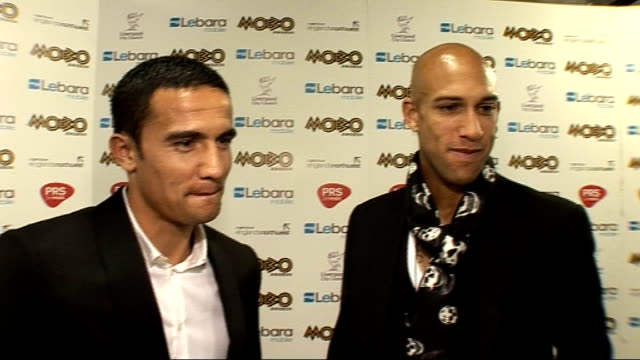 MOBO Awards 2010 celebrity interviews *** WINNERS Tim Cahill and Tim Howard interviewed SOT On presenting the crowd and how nervous they were on how...