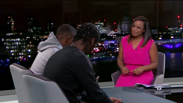 mobo awards 2015 krept and konan live studio interview sot on music being therapy / on having accountancy degree - music therapy stock videos & royalty-free footage