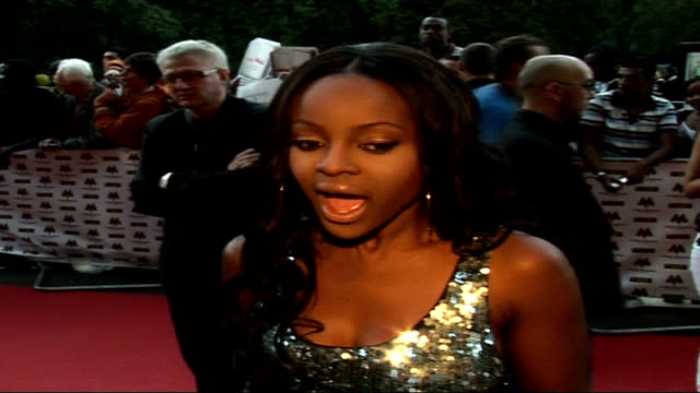 Mobo Awards at Royal Albert Hall Celebrity arrivals and interviews Keisha Buchanan wearing silver sequin dress interview SOT On her outfit / Mobo...