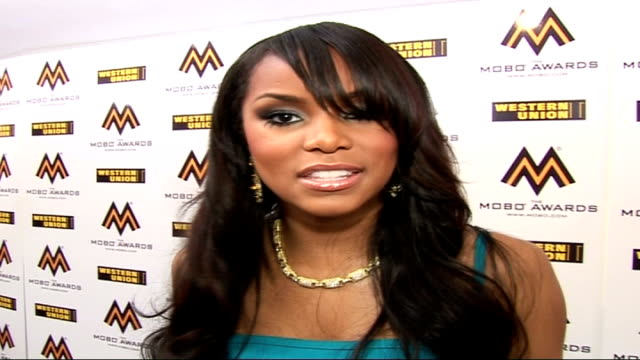 Mobo Awards at Royal Albert Hall Celebrity arrivals and interviews Letoya wearing blue strappy dress interview SOT On what it's like backstage / The...