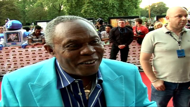 Mobo Awards at Royal Albert Hall Celebrity arrivals and interviews Sam Moore interview on red carpet SOT On his striking outfit and how long he took...