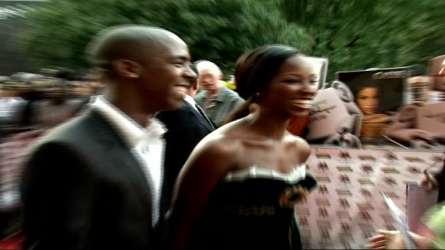 mobo awards at royal albert hall celebrity arrivals and interviews jamelia wearing sleeveless green velvet dress speaking to and joking with reporter... - sleeveless dress stock videos and b-roll footage