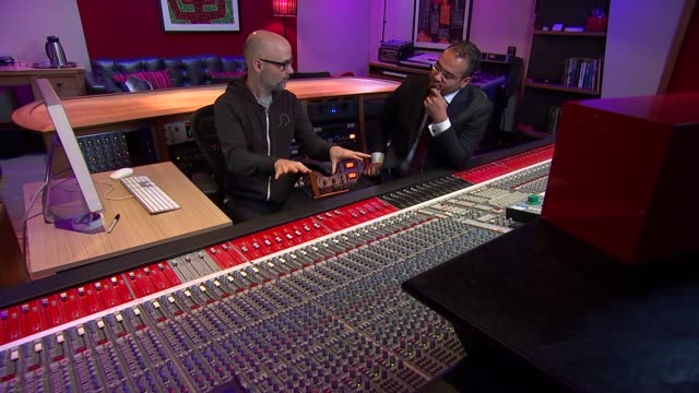 Musician producer and DJ Moby talks about his life after writing memoir Moby and KGM in studio at mixing desk as Moby demonstrates how music is made...