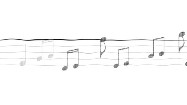 Music notes moving on sheet, composing app, karaoke, black and white background