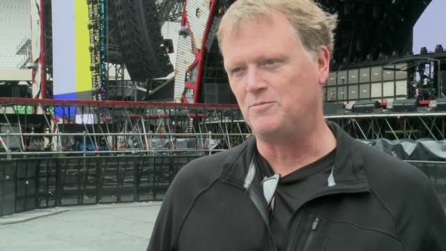 olympic stadium to host ac/dc concert dale skjerseth interview sot - itv london tonight weekend点の映像素材/bロール