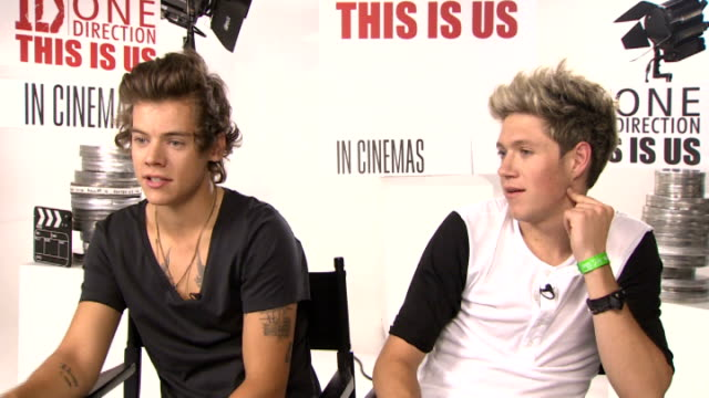 One Direction press conference on their new film 'This Is Us' ENGLAND London INT Harry Styles and Niall Horan interview SOT