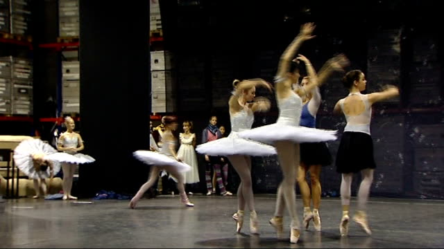 ** music overlaid sot ** dancers rehearsing wearing tutus sewn with swarovski crystals ends - ballettröckchen stock-videos und b-roll-filmmaterial