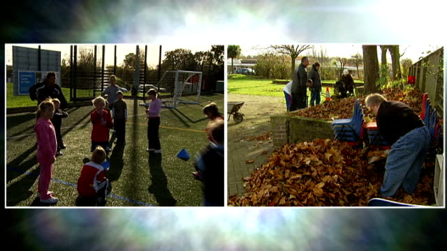 **music overlaid sot** split screen children playing football at kick start for life project in greenwich / people gardening at cultivating quality... - basildon stock-videos und b-roll-filmmaterial