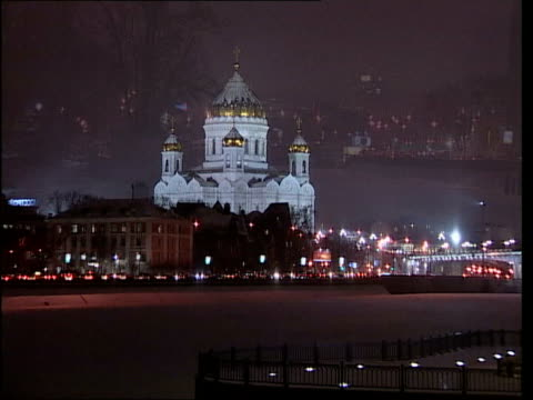 music overlay night gv snow falling against sky gv snow falling with tree at side of shot gvs moscow gv peter the great statue ends int gv red army... - choir stock videos & royalty-free footage