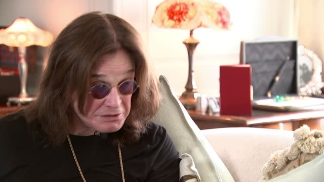 ozzy osbourne interview england int ozzy osbourne setup with reporter and interview sot here because of fans - ozzy osbourne stock videos & royalty-free footage