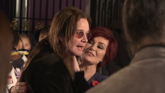 ozzy osbourne interview london grosvenor house ozzy osbourne and sharon osbourne kiss on red carpet at pride of britain event - ozzy osbourne stock videos & royalty-free footage