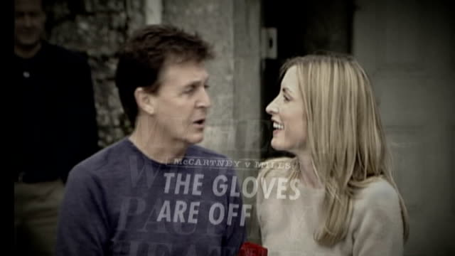 vídeos y material grabado en eventos de stock de paul mccartney to marry again graphicised pictures mccartney and heather mills mccartney overlaid with headlines about their acrimonious divorce - paul mccartney