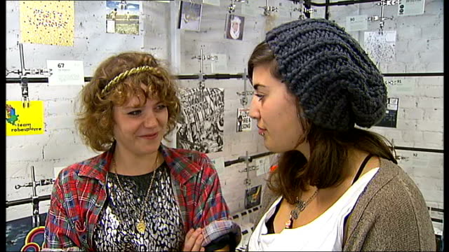 'peggy sue & the pirates': interview and performance; rosa rex and katy klaw interviewed sot - on writing their own material, on being picky about... - sleeve stock videos & royalty-free footage