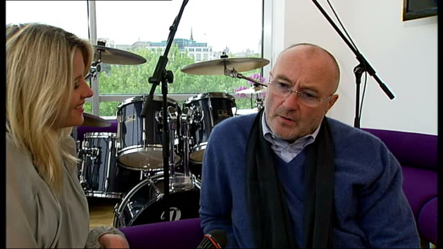 phil collins interview; phil collins interview sot - very proud of the new album / favourite moments in his career - playing drums for eric clapton,... - phil collins stock videos & royalty-free footage