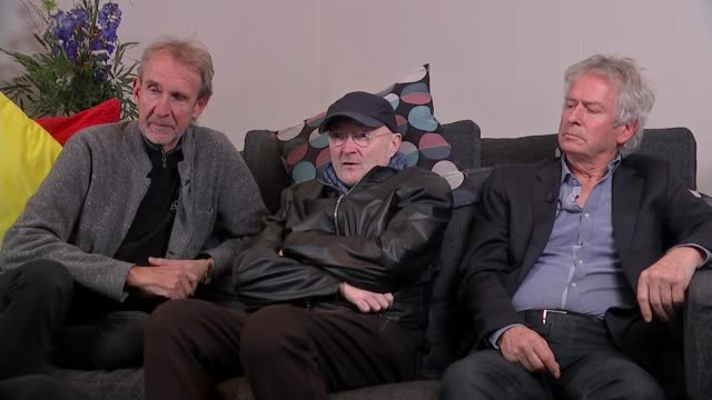 phil collins' son to play drums on genesis reunion tour england london int phil collins interview as sitting with mike rutherford and tony banks sot - mike rutherford stock videos & royalty-free footage