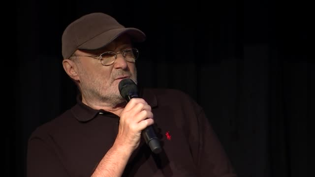 phil collins to come out of retirement after ten years phil collins answering question sot - phil collins stock videos & royalty-free footage