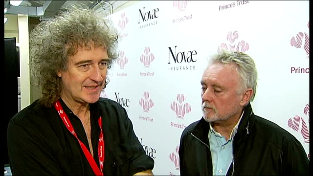 vidéos et rushes de princes trust rock gala at royal albert hall interviews with performers england london royal albert hall int brian may looking at television screen... - rock moderne