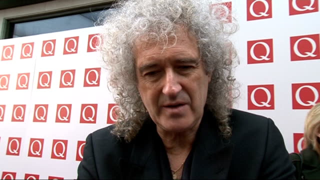 q awards 2011 celebrity arrivals / winners room brian may interview sot on current music scene / shows like the xfactor / his favourite line from... - glee tv show stock videos and b-roll footage