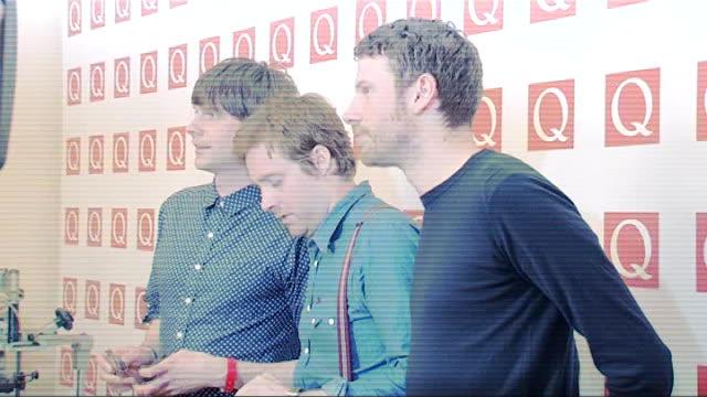 Q Awards 2011 celebrity arrivals / winners room Sheeran interview SOT On winning a breakthrough award / thanks his fans Kaiser Chiefs posing for...