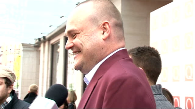 celebrity arrivals / winners room; various of al murray speaking to press / matt cardle speaking to press matt cardle interview sot - describes his... - al murray stock videos & royalty-free footage