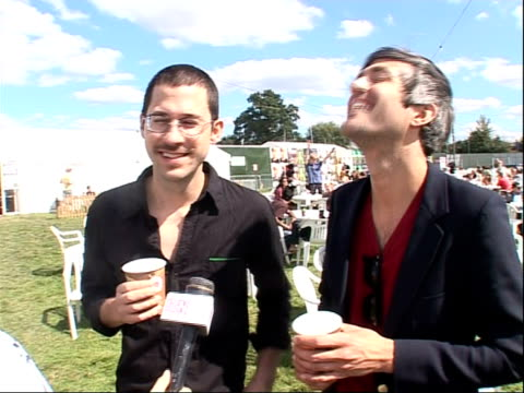 reading festival 2008 band interviews chris cain and keith murray interview sot stories from the road they got stuck in sweden - reading and leeds festivals stock videos & royalty-free footage