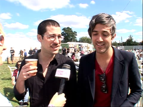 reading festival 2008 band interviews chris cain and keith murray interview sot more on matt helders / on being bigger in the uk than in the states /... - reading and leeds festivals stock videos & royalty-free footage