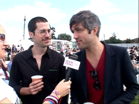 reading festival 2008 band interviews england berkshire reading rivermeads leisure complex ext chris cain and keith murray interview sot on being... - reading and leeds festivals stock videos & royalty-free footage