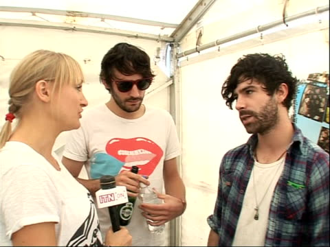 reading festival 2008: band interviews; int yannis philippakis and jimmy smith interview sot - on doing signings, any weird requests and on people... - reading and leeds festivals stock videos & royalty-free footage