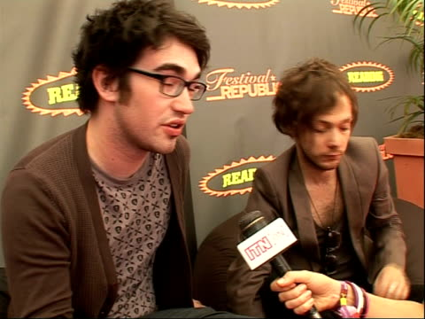 reading festival 2008 band interviews iwan griffiths and robin hawkins interview sot on there only being smallscale festivals in wales / on their... - reading and leeds festivals stock videos & royalty-free footage