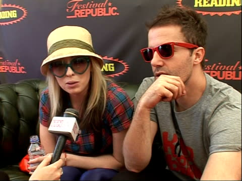 reading festival 2008 band interviews katie white and jules de martino interview sot on being the band of the moment or band of the year / how h ave... - reading and leeds festivals stock videos & royalty-free footage