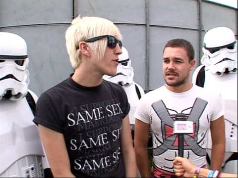 reading festival 2008 band interviews sean smith and james davies interview sot on their performance with star wars characters / on their dream... - reading and leeds festivals stock videos & royalty-free footage