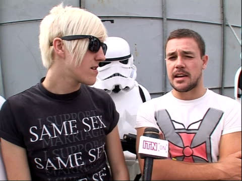 reading festival 2008: band interviews; sean smith and james davies interview sot - on working with lost prophets / on their dream collaborations /... - reading and leeds festivals stock videos & royalty-free footage