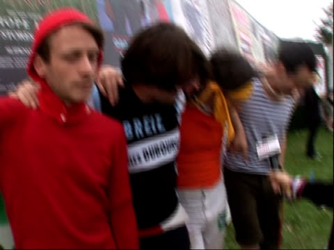 reading festival 2008: band interviews; yan , noble , hamilton , wood interview sot - on wrestling / on playing at reading festival / on whether they... - reading and leeds festivals stock videos & royalty-free footage
