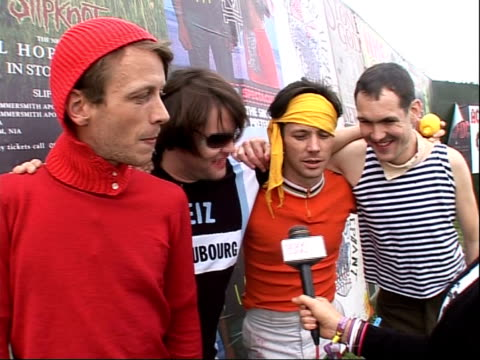 reading festival 2008: band interviews; yan , noble , hamilton , wood interview sot - on rod stewart being likely to win mercury award / on various... - reading and leeds festivals stock videos & royalty-free footage