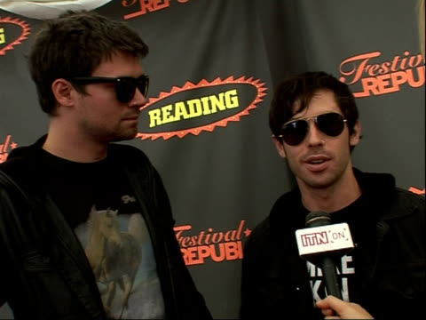 reading festival 2008: interviews with bands; adam lazzara and matt rubano interview sot - [elements of earlier interview repeated] - reading and leeds festivals stock videos & royalty-free footage