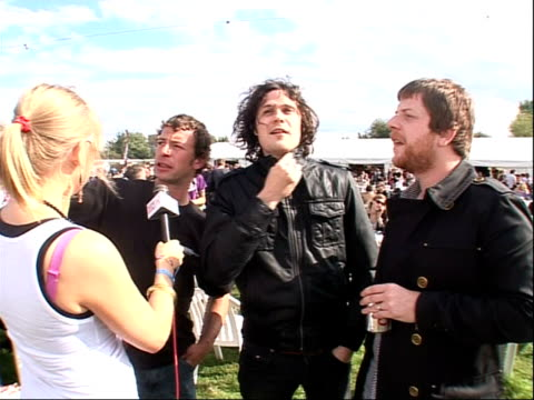 reading festival 2008: interviews with bands; jon fratelli and barry fratelli interview sot - on profits from their next single going to cancer... - reading and leeds festivals stock videos & royalty-free footage