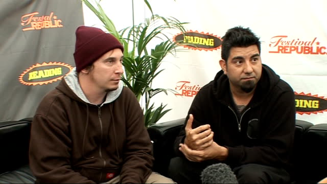 reading festival 2009: deftones interview; deftones interview sot - the making of then new record and how easy it was to record / the process of... - reading and leeds festivals stock videos & royalty-free footage