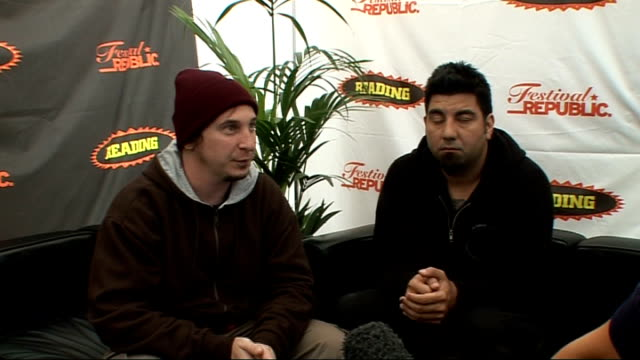 reading festival 2009: deftones interview; deftones interview sot - on what bands they'd like to see / on their warm-up gig / on cheng chi and... - reading and leeds festivals stock videos & royalty-free footage