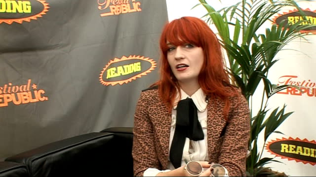 vídeos y material grabado en eventos de stock de reading festival 2009: florence and the machine interview; florence interview sot - on their music fitting in with other genre / being mistaken for... - reading and leeds festivals