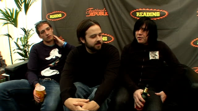 reading festival 2009: funeral for a friend interview; funeral for a friend interview sot **contains swearing** - on deftones and faith no more / on... - reading and leeds festivals stock videos & royalty-free footage