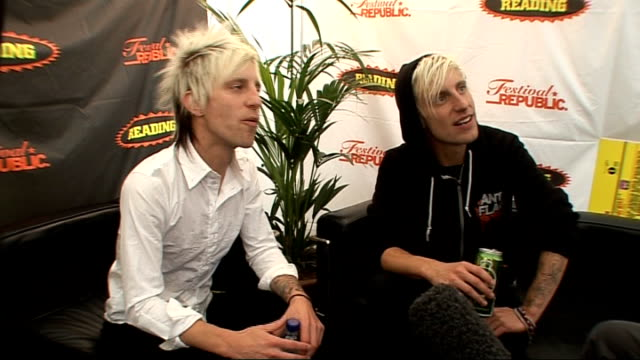 reading festival 2009: madina lake interview; madina lake interview sot - on their personas on stage being much larger than they are, power slides /... - reading and leeds festivals stock videos & royalty-free footage