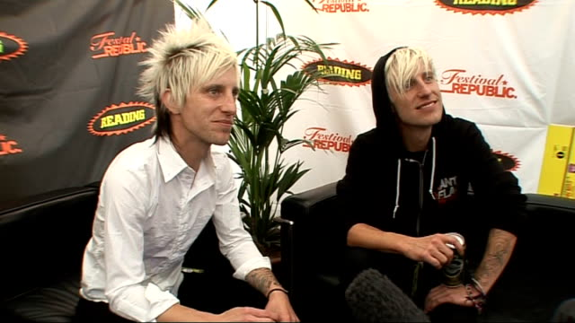 reading festival 2009: madina lake interview; madina lake interview sot - on other bands miming / on the quality of live performances, on other bands... - reading and leeds festivals stock videos & royalty-free footage