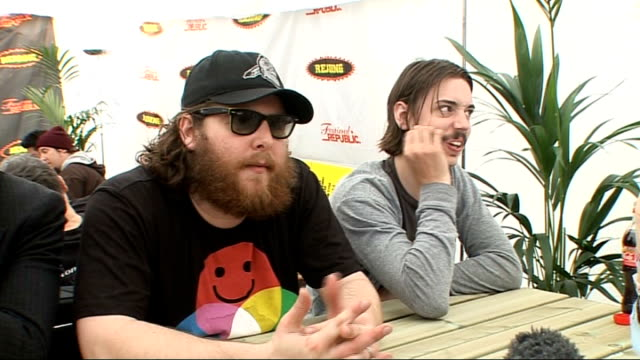 reading festival 2009 manchester orchestra interview england berkshire reading int chris freeman andy hull and robert mcdowell interview sot on their... - letterman stock videos & royalty-free footage