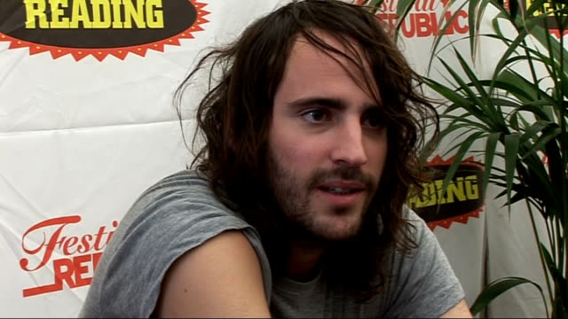 reading festival 2010 interviews; foals interview sot - just got here - tired and partied late with the klaxons / on what makes them come back to... - mercury music prize stock-videos und b-roll-filmmaterial