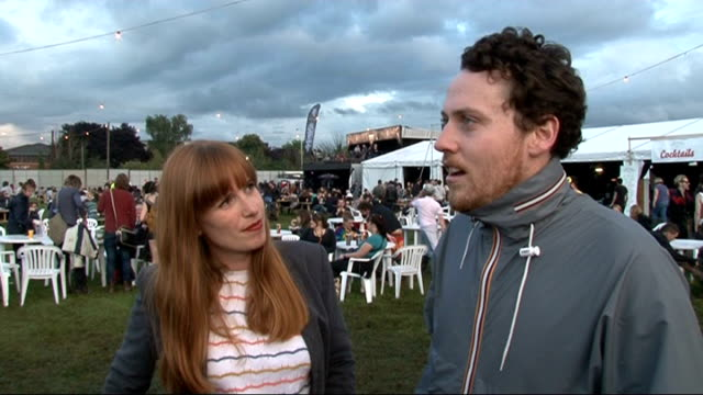 reading festival 2011: celebrity interviews; metronomy interview sot - on their tips for festival fashion / their album / touring in south america /... - reading and leeds festivals stock videos & royalty-free footage